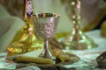 The goblet with cracker ready for wedding ceremony Stock Photo