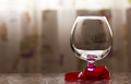 Goblet glass red ribbon objects still life thanksgiving marble reflection Stock Photo