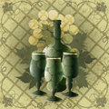 Goblets and wine illustration with three bottle of old against grape ornament background drawn in vintage style Stock Photo