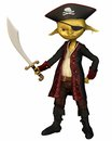 Goblin pirate captain green skinned with hat and eye patch d digitally rendered illustration Royalty Free Stock Image