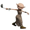Goblin servant girl with ladle carrying a soup d digitally rendered illustration Royalty Free Stock Images