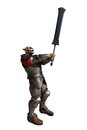 Goblin soldier with giant sword in armour wielding a d digitally rendered illustration Stock Photography