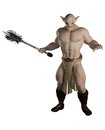 Goblin warrior with mace carrying a d digitally rendered illustration Stock Photo