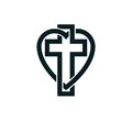 God Christian Love conceptual logo design combined with Christian Cross and heart, vector creative symbol. Royalty Free Stock Photo