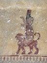 God Khaldi fresco in Erebuni, Armenia Stock Photo