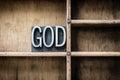 God Letterpress Type in Drawer Royalty Free Stock Photo