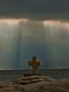 God rays and Christian cross  Royalty Free Stock Image