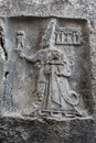 God sharruma and king tudhaliya rock carving in yazılıkaya depicting dated to around bc Royalty Free Stock Images