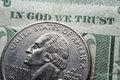 In god we trust coin and dollar Stock Images