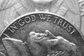 In god we trust macro of american coin Stock Image