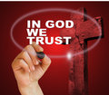 In god we trust writing word with marker on gradient background made d software Royalty Free Stock Photography