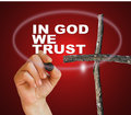 In god we trust writing word with marker on gradient background made d software Stock Photo