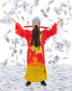 God of wealth share riches and prosperity with money rain Royalty Free Stock Photo