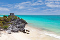 God of Winds Temple in Tulum's sea entrance bay Royalty Free Stock Photos