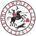 God Wotan, riding on a horse Sleipnir with a spear and two ravens in a circle of Norse runes. Illustration of Norse