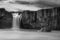 Godafoss in black white monochrome picture of the side stream of famous icelandic waterfall Royalty Free Stock Photography