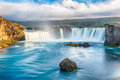Godafoss is a very beautiful icelandic waterfall it is located on the north of the island not far from the lake myvatn and the Royalty Free Stock Photography