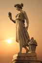 Goddess of abundance statue in piazza del popolo Stock Images