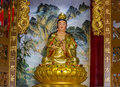 The goddess of compassion and mercy statue on gold lotus Royalty Free Stock Photography