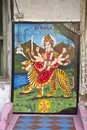 Goddess durga february ahmedabad gujarat india image of on a wall of little temple Stock Image