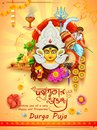 Goddess Durga in Happy Dussehra background with bengali text Durgapujor Shubhechha meaning Happy Durga Puja