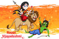 Goddess Durga killing demon Mahishasura for Happy Vijayadashami Dussehra