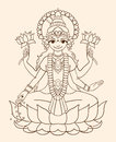 Goddess lakshmi brings wealth and prosperity vector illustration Royalty Free Stock Image
