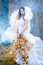 Goddess of nature beautiful girl posing as the Stock Photos