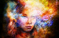 Goddess Woman in Cosmic space. Cosmic Space background.
