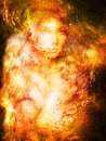 Picture : Goddess Woman in Cosmic space. Cosmic Space background. eye contact. Fire effect.