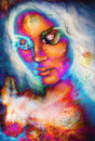 Goddess Woman in Cosmic space. Cosmic Space background. Fire effect.