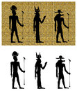 Gods of ancient egypt silhouettes group three hathor isis and sebek or sobek on canvas and on white Royalty Free Stock Image