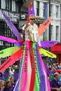 Gods message a man on stilts spreads during the preston guild church parade Royalty Free Stock Photo