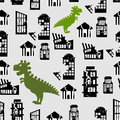 Godzilla destroys city seamless pattern great monster breaks d down building destruction of office at home background of Royalty Free Stock Image