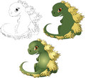Godzilla the little cub of the kotoy is drawn in three options of color scale Royalty Free Stock Images