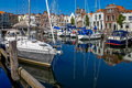 Goes harbour in the netherlands small historical of city of zeeland Stock Photo