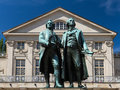 Goethe Schiller monument in front of the court theater Royalty Free Stock Photo