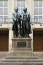 Goethe and schiller monument of german writers in weimar Royalty Free Stock Photo
