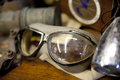 Goggles close up horizontal photograph of old motorcycle Stock Photography