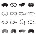 Goggles icons. Safety glasses icons