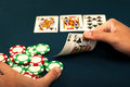 Going all in player after getting a royal flush Stock Photography