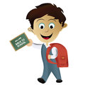 Going back to school a happy boy with a red bag Royalty Free Stock Images