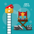 Going to cinema reel clapper film strip and tickets Royalty Free Stock Photo