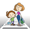Going to school sad little boy holding a game controller mother and son crossing the pedestrian vector illustration Stock Photos