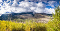 Going to the sun road panoramic view from on a sunny autumn morning in glacier national park mt Royalty Free Stock Images