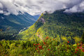 Going to the sun road view from on a sunny autumn morning in glacier national park mt Stock Image