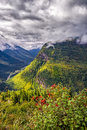 Going to the sun road view from on a sunny autumn morning in glacier national park mt Stock Photography