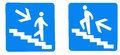 Going up and down sign man on stairs Royalty Free Stock Photos