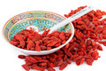 Goji berries chinese bawl with dried Stock Image