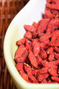 Goji berries picture of in the basket Royalty Free Stock Image